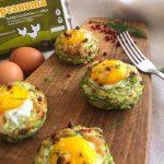 Гнезда от тиквички с яйца